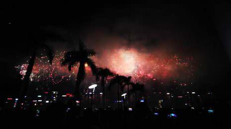 Feuerwerk vor Palmen