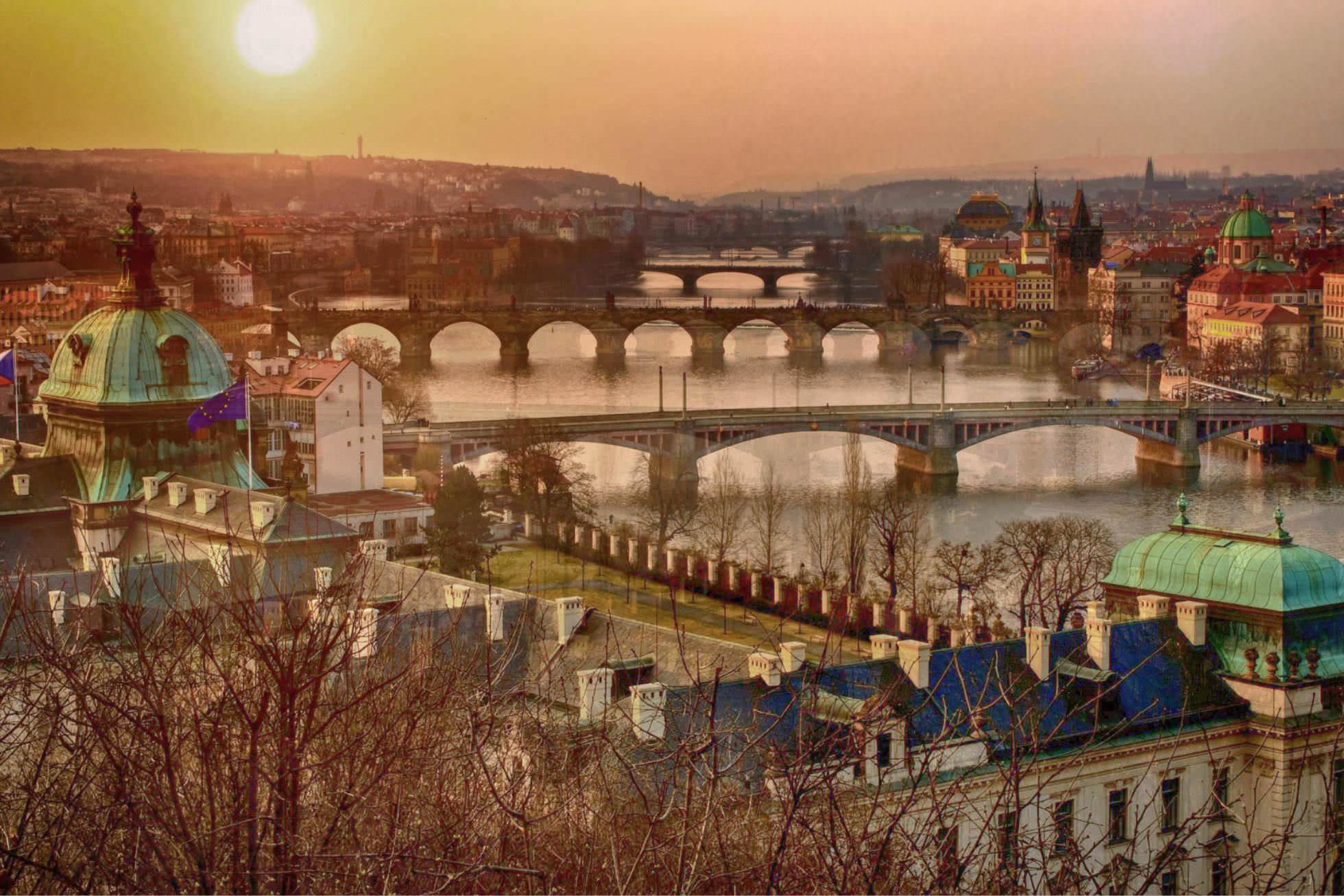 Prag Panorama Moldau