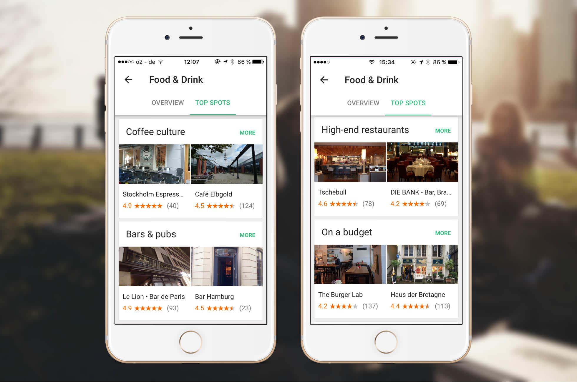 Google Trips Essen und Trinken Reiseplanung
