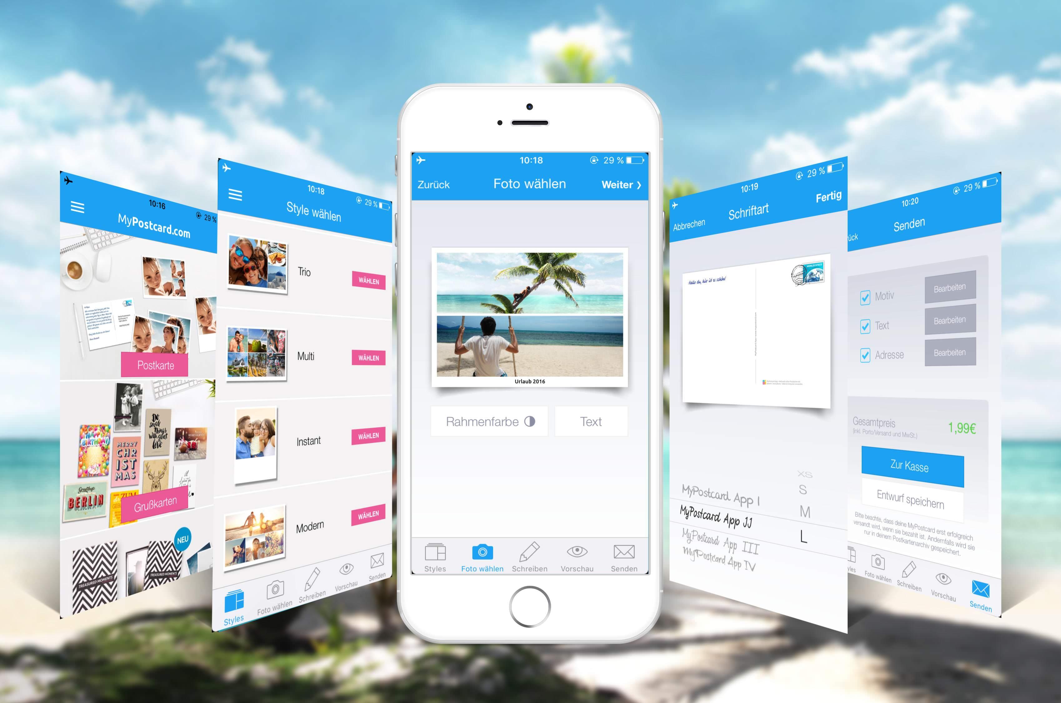 Postkarte per App versenden