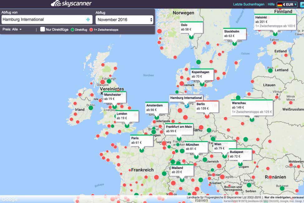 Skyscanner Karte