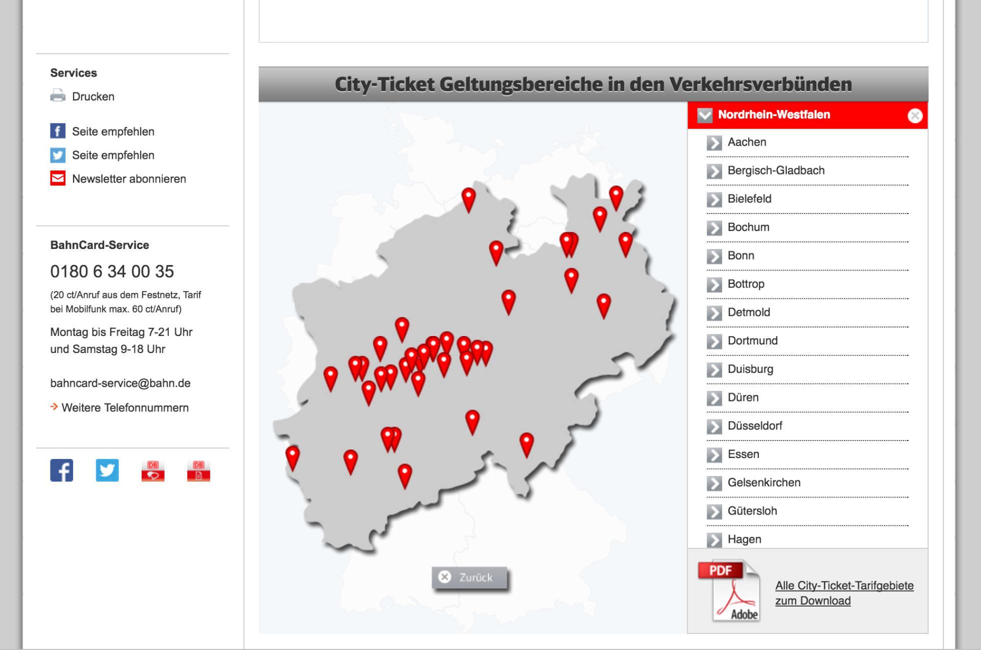 City Ticket Übersicht der Deutschen Bahn