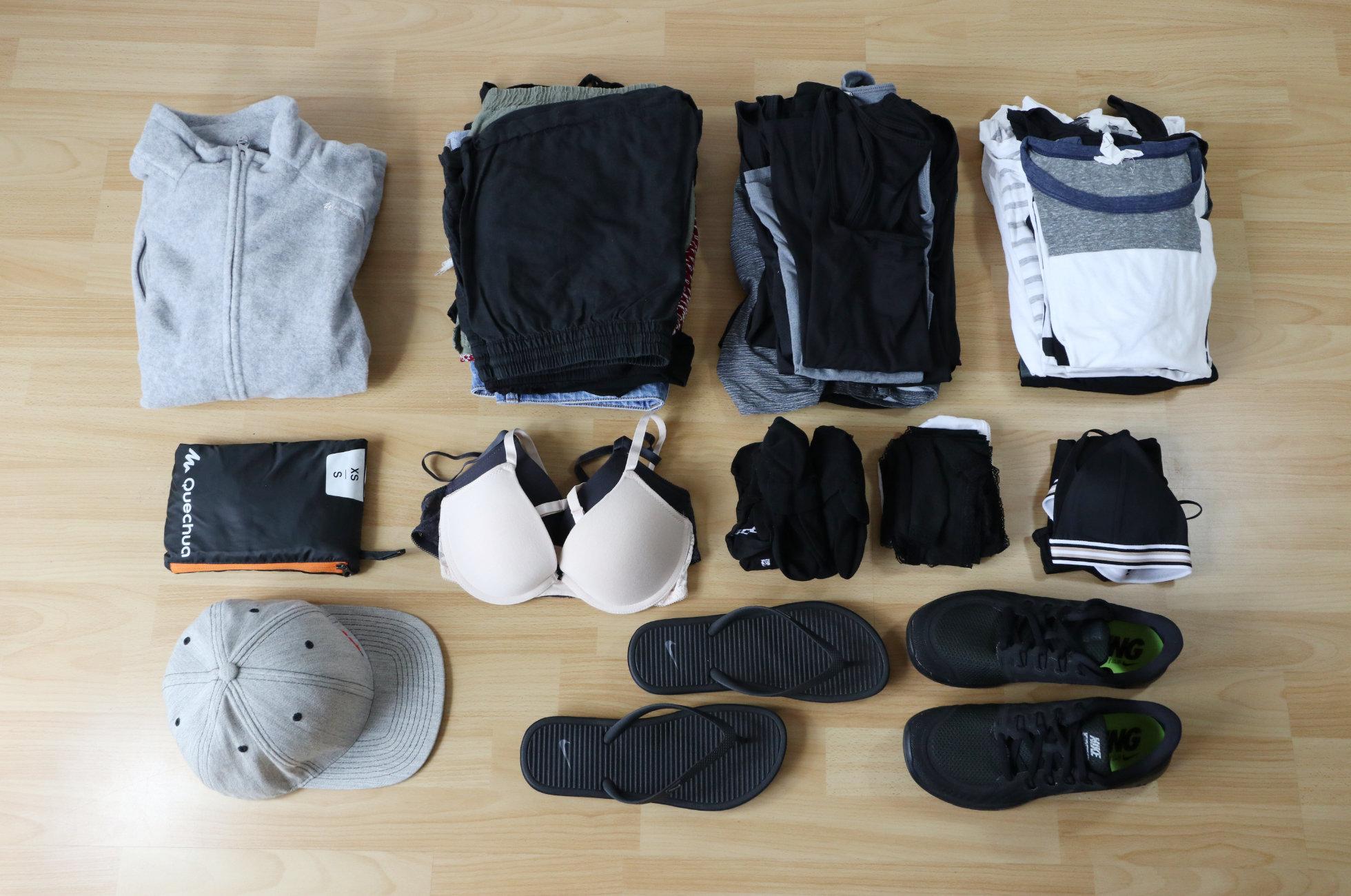 Kleidung packen Weltreise
