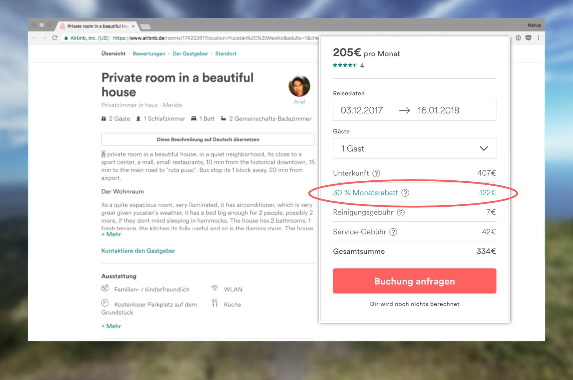 Airbnb Geld sparen Rabatte