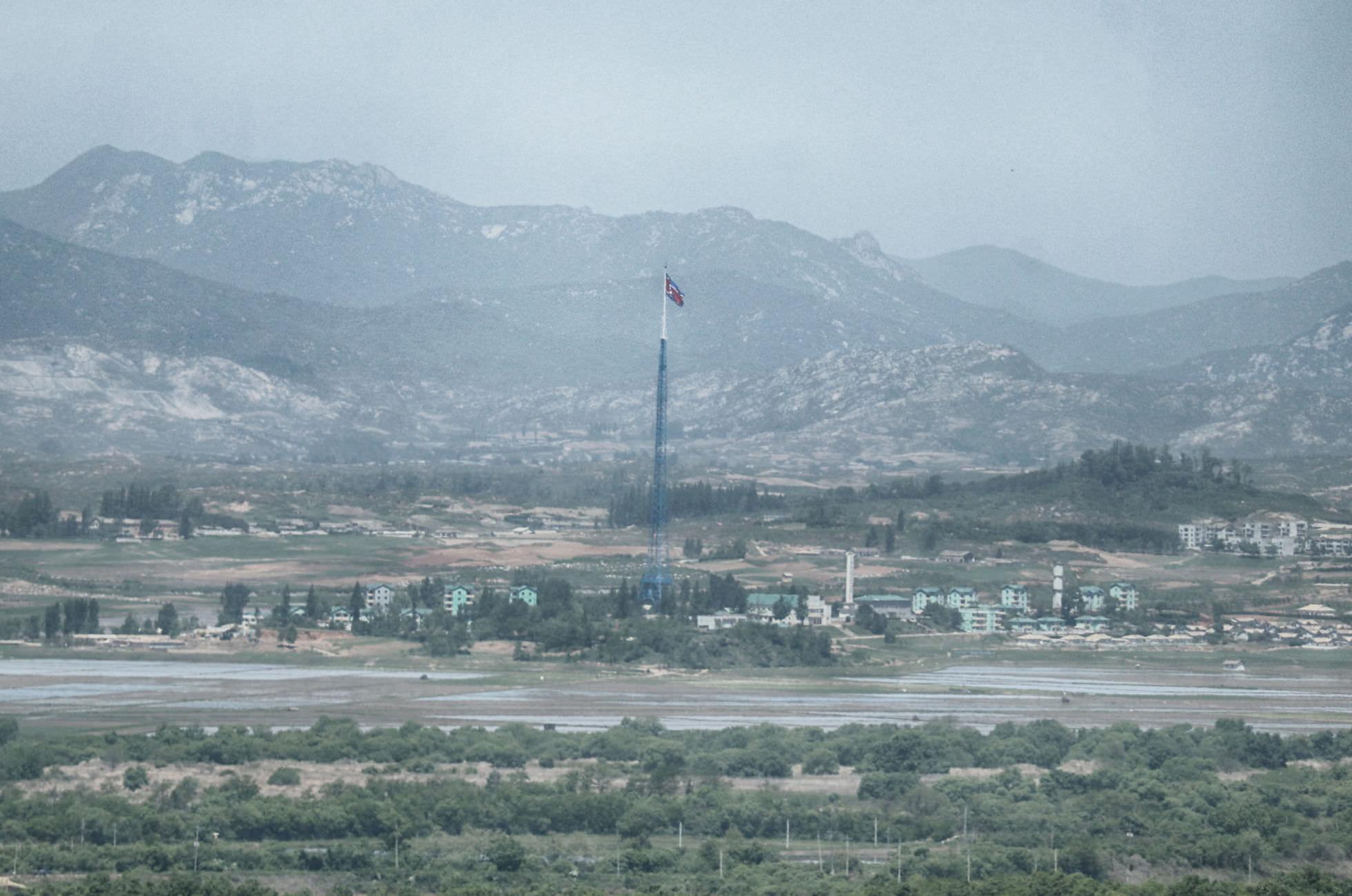 Propagandadorf Nordkorea Flagge Mast DMZ